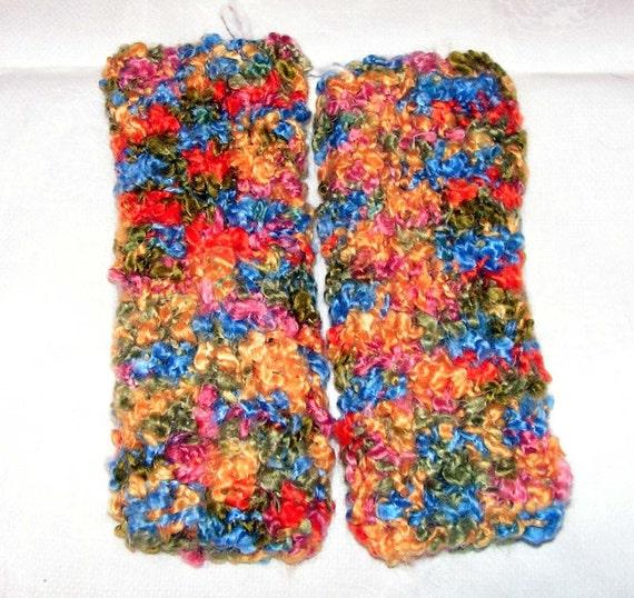 Fm044 Hand Knit Multicolor Boucle Fingerless Mittens Woman Teen