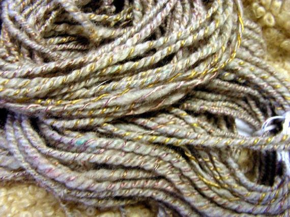 Y205 Hand Spun Art Yarn Black Gold Wool Tencil Alpaca Bamboo Bulky Thick and Thin