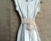 Country Fried French Quarter Boho Style Ruffle Dress or Pinafore in Linen from down de bayou fits all s m l xl plus