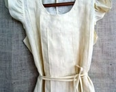 Ruffle Dress or Pinafore in Cream Linen  Country Fried French Quarter Boho Style from down de bayou fits all s m l xl plus