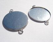 10pcs bezels, 25mm, silver, brass tone, 2 rings