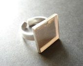 16x16mm Square Sterling Silver Bezel - Adjustable Ring