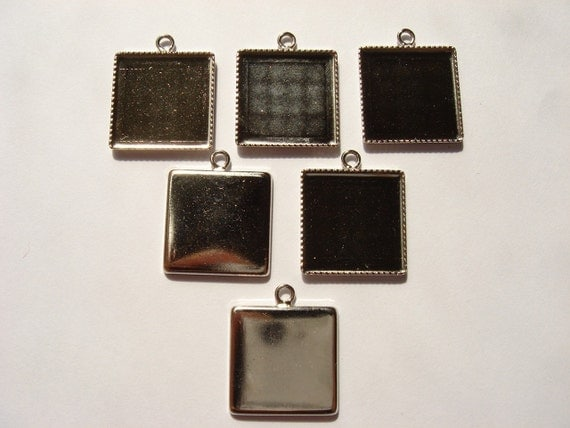 10pcs bezels - 17mm, square, silver tone, one jumpring (Good Quality) (bp006g)