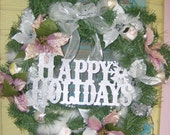 Victorian Poinsettia Christmas Wreath, Shabby Chic Christmas Decor, FREE SHIPPING
