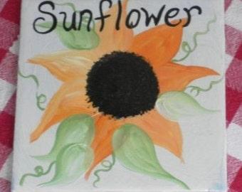 Hand Painted Country Farmhouse Sunflower Ceramic Tile Kitchen Trivet