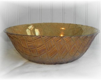 Vintage Amber Carnival Glass Basket Weave Bowl