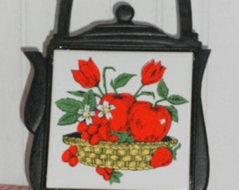 Vintage Cast Iron and Tile Apple Trivet, Vintage Kitchen Decor, Kitsch Decor
