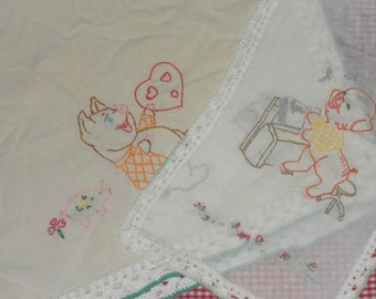 Vintage Farmhouse Embroidered Table Runner and Finger Towel Set - My Little Piggy