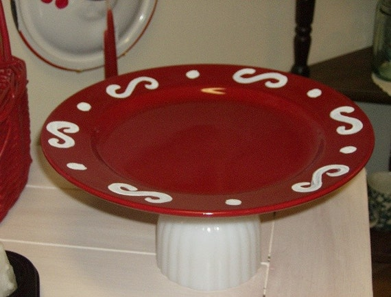 Red Ceramic and Milk Glass Cake Stand - Upcycled Cottage Chic Kitchen Decor