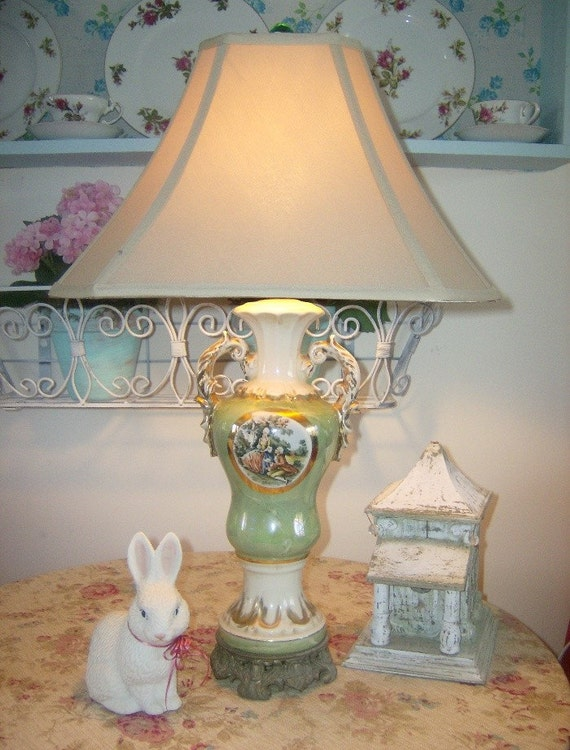 SALE - Antique 1940's Vintage French Inspired Green China Urn Lamp - Shabby Cottage Chic Decor