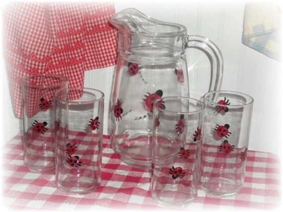 Hand Painted Country Lady Bug Drink Pitcher and Glasses Set - Farmhouse Summer Decor