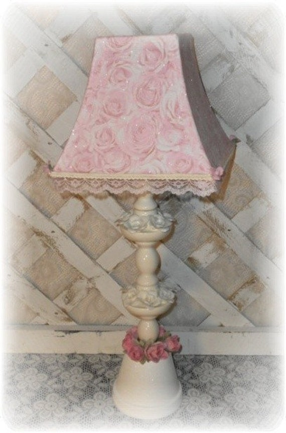 Pink Shabby Cottage Chic Rose  Upcycled Table Lamp