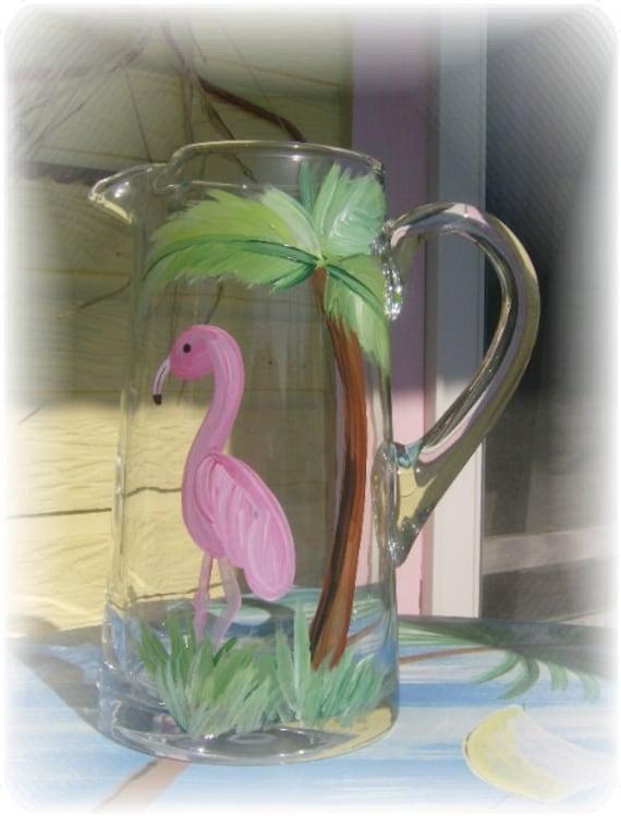 Hand Painted Flamingo Glass Drink Pitcher, Beachy Wedding Decor, Wedding Gift, Summer Decor