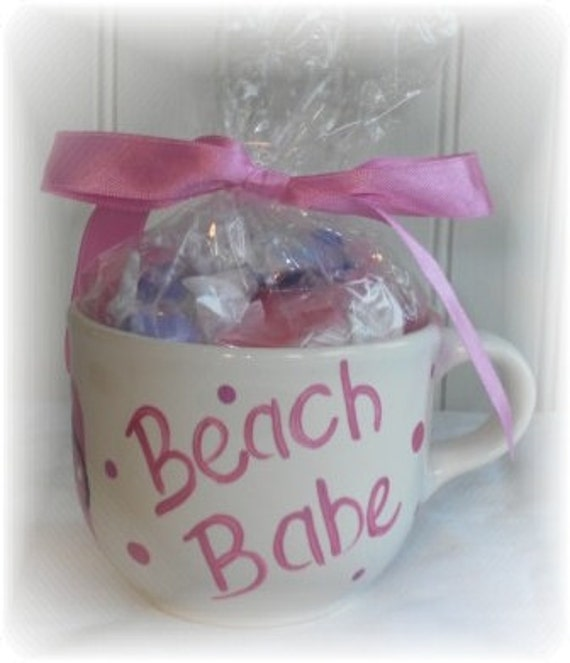 Hand Painted Hot Pink BEACH BABE Flip Flop Coffee Cup Gift Mug Filled w/ Saltwater Taffy