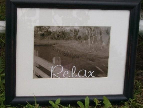 RELAX Beach Inspired Framed  Photo Print Black and White, Sepia Coastal Art