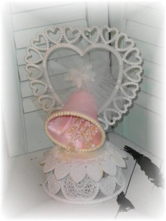 Vintage Wedding Bell  Cake Topper -  Pink Plastic Kitsch