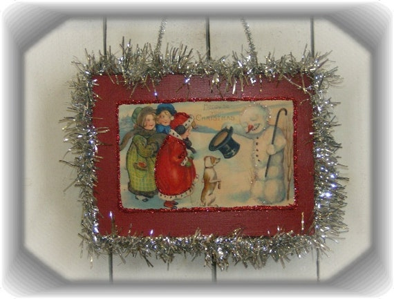 Vintage Inspired Victorian Post Card Christmas Wall Plaque Decoration