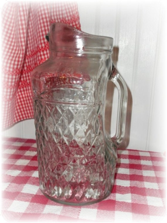 Vintage Pressed Glass 2 Quart Pitcher - Water, Lemonade. Iced Tea