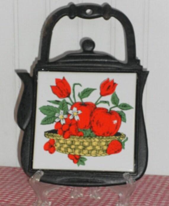 Vintage Cast Iron and Tile Apple Trivet, Vintage Kitchen Decor, Kitsch Decor