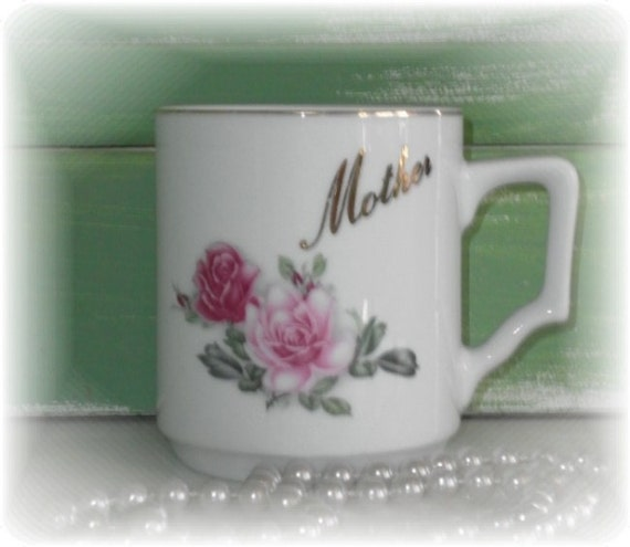 Vintage Rose MOTHER China Tea Cup - Shabby Chic Style, Gift For Mom