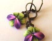 Pink,Purple and Bright Green Flower Petal Earrings