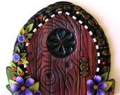 Cottage Garden Fairy Door in Raspberry and Purple