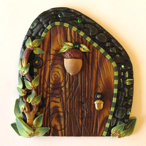 Fairy door with an acorn for Wooden fairy doors that open