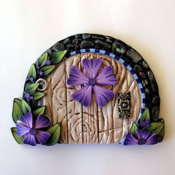 Purple flower fairy door by claybykim on etsy for Fairy door purple