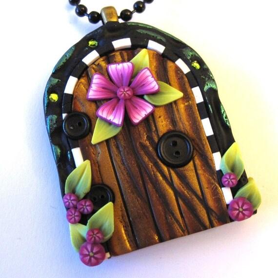 Pink Flower Fairy Door Necklace