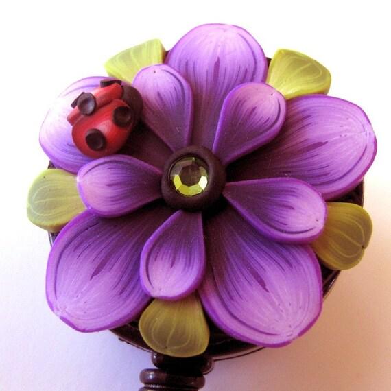 Purple Flower Scissor Keeper ID Badge Reel with Ladybug
