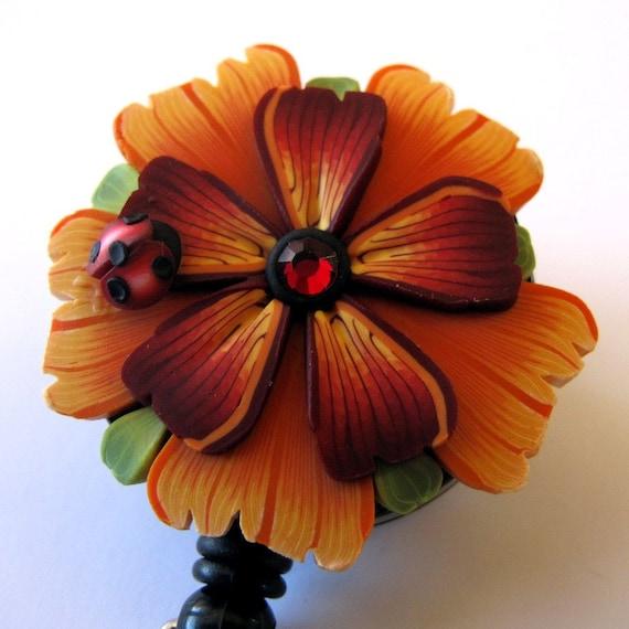 Orange Flower Scissor Keeper ID Badge Reel with Ladybug