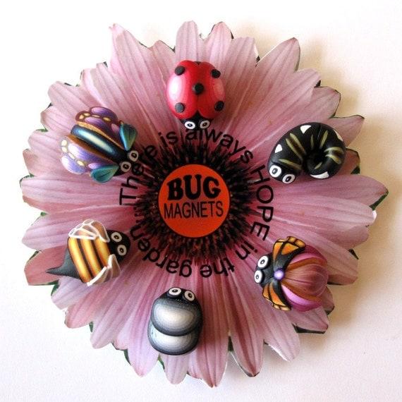 Bug Magnets on Pink Flower