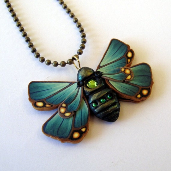 Teal Moth Polymer Clay Necklace