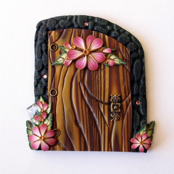 Pink flower fairy door for Pink fairy door