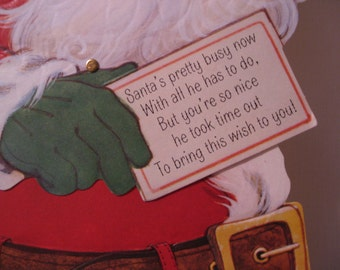 Vintage Swinging Santa Christmas Card