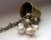 fables... vintage brass thimble with freshwater pearls