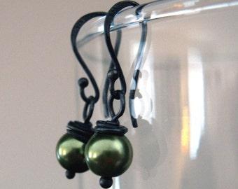 itty bitties in sage green .. swarovski pearls and oxidized sterling earrings