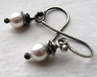 itty bitty ... freshwater pearls and oxidized sterling earrings