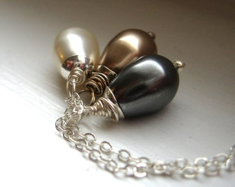 swarovski pearl drop and sterling necklace