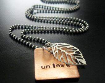 unless ... handcut, handstamped copper and sterling Dr. Seuss Lorax necklace