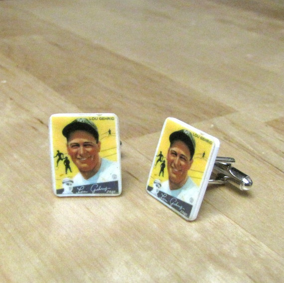 Lou Gehrig Baseball Card Cuff Links