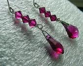 Vixen In Ruby Red   Swarovski Crystals on Sterling Silver   Dangling Earrings