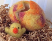 Felted Chick Hatching from Easter Egg - in marbled shades of yellow, orange and purple