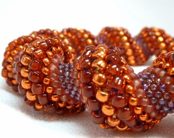 Flaming Sunset Cellini Spiral Beadwoven Bangle Bracelet - The Twisted Collection