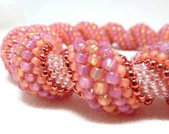 Peachy Dream Beadwoven Cellini Spiral Bangle Bracelet - The Twisted Collection