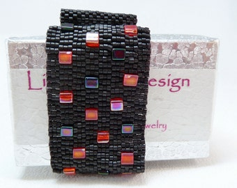 ON SALE - Red Bricks Beadwoven Cuff Bracelet - Another Brick in the Wall Collection