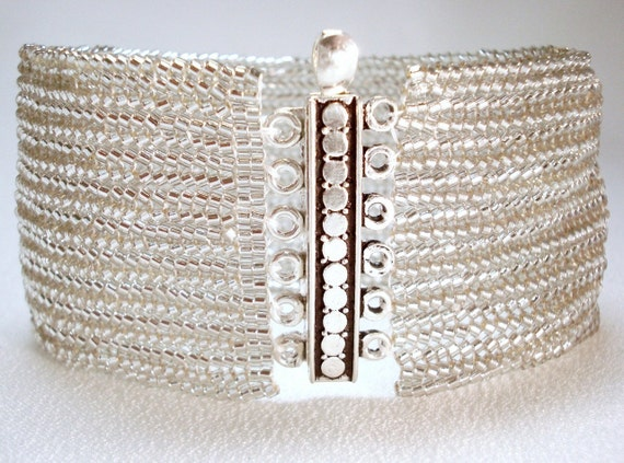 Sophisticated Silver Beadwoven Cuff Bracelet- the Luxe Collection