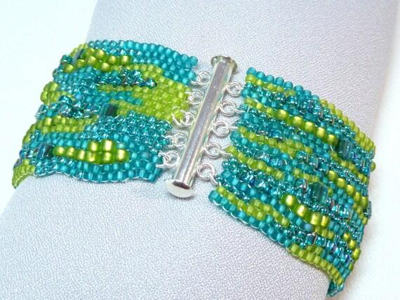 ON SALE - Sea Sparkle Freeform Sculptural Beadwoven Cuff Bracelet