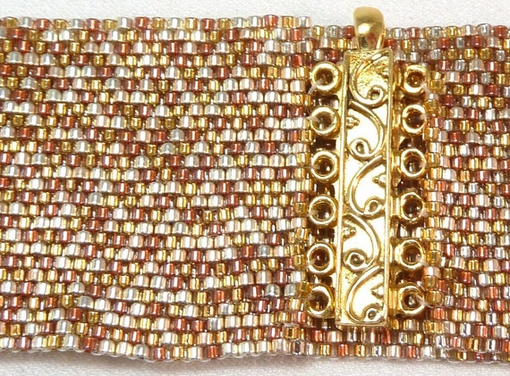 ON SALE - Miscellaneous Metallics Beadwoven Cuff Bracelet - the Luxe Collection