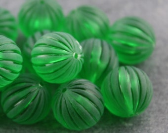 Vintage Green Frost Ribbed Lucite Rounds 14mm